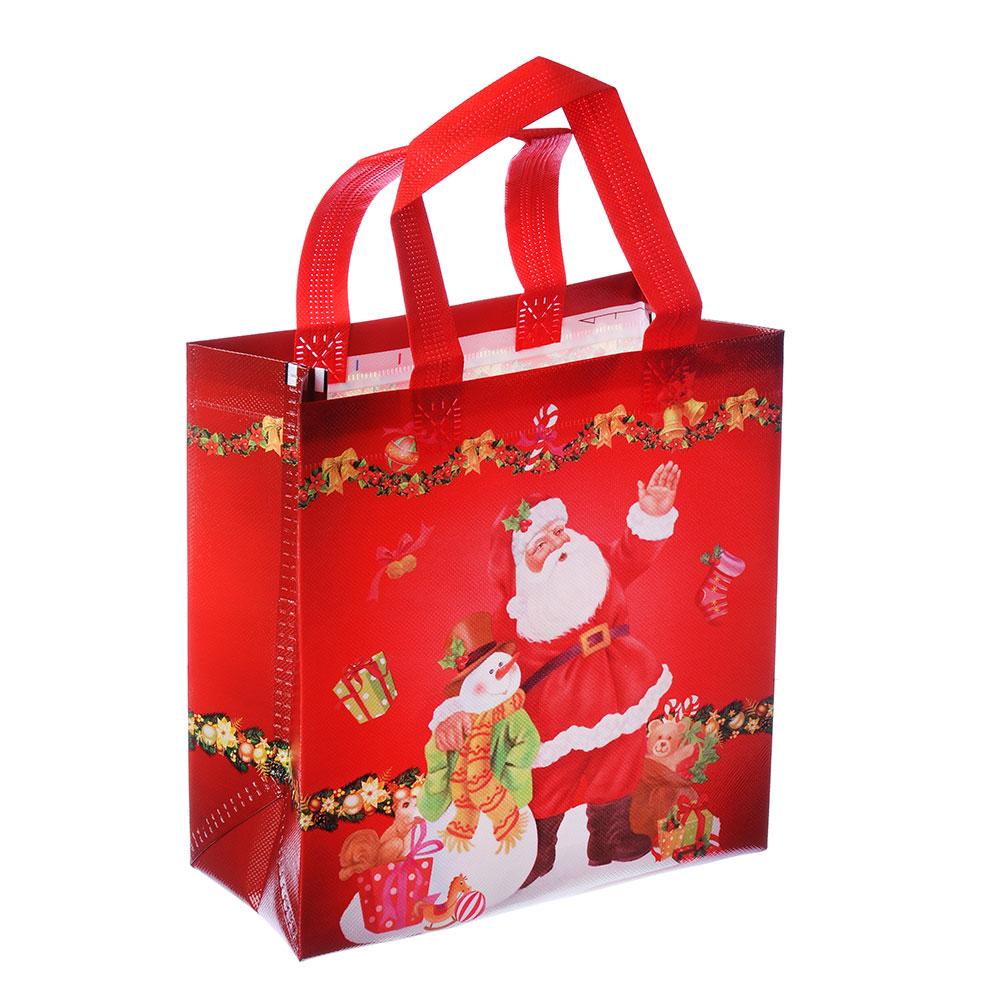 Пакет подарочный СНОУ БУМ 22х23х11 см, полиэстер, 4 дизайна, арт 2