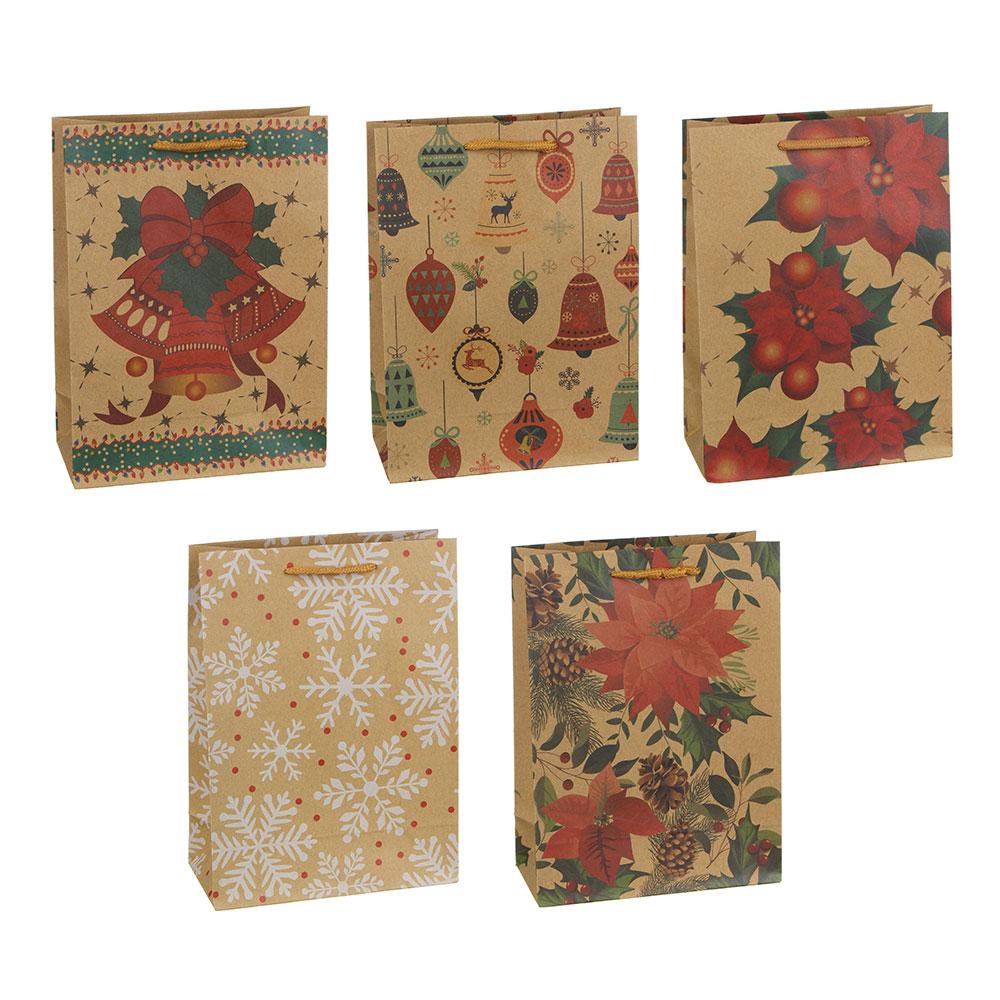 Пакет подарочный СНОУ БУМ бумажный, крафт с рисунком, 18х24х8,5 см, 6 дизайнов, арт 1