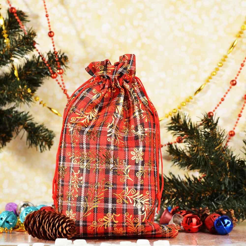 Мешок подарочный ткань, полиэстер, с блестящим слоем, 20х30 см