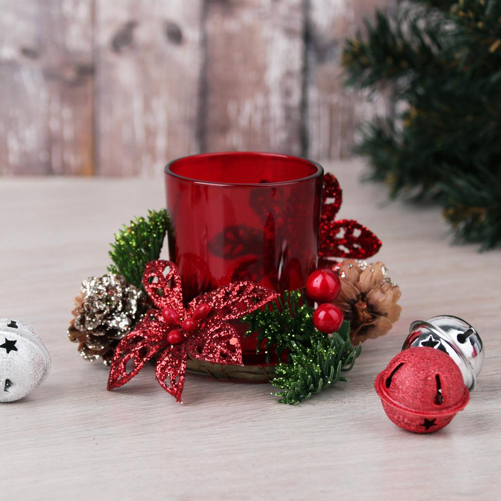 Подсвечник с декором шишки, в подарочной упаковке, стекло, 11,3x11,3x7,5см, 4 цвета