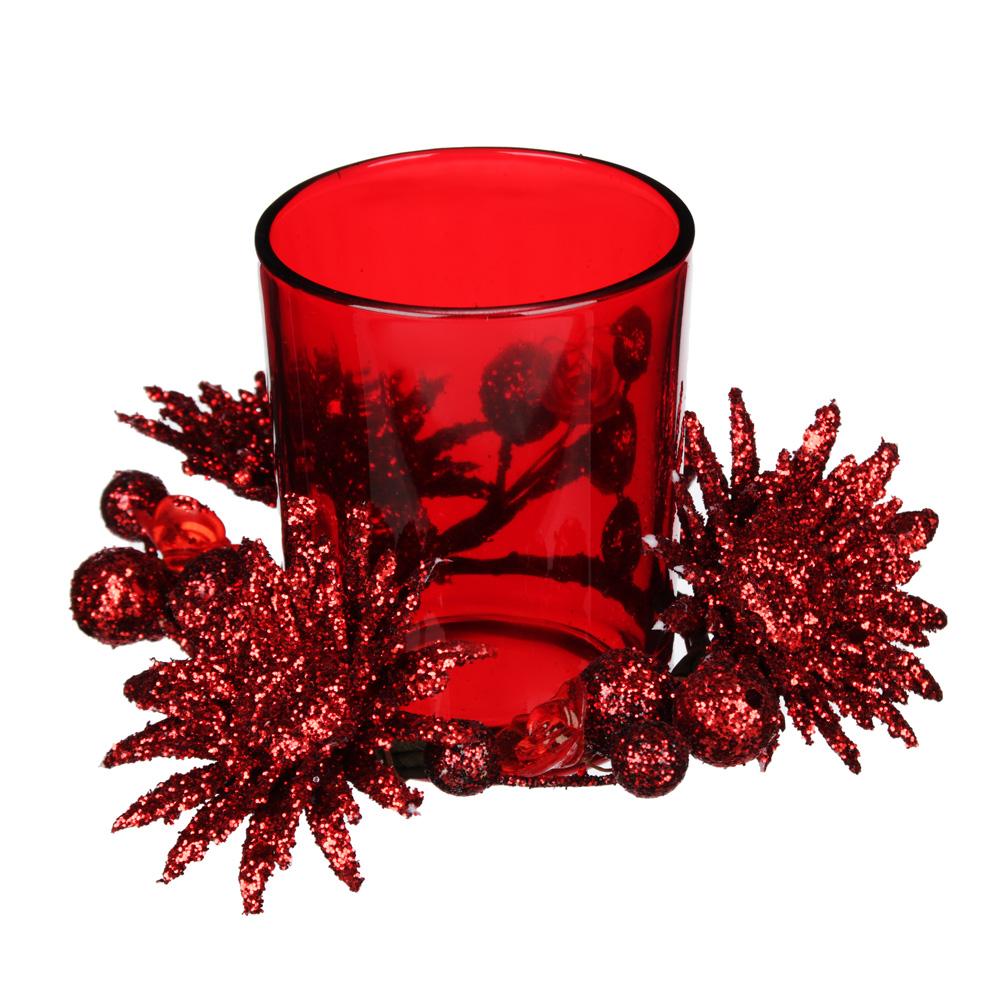 Подсвечник с декором цветы, в подарочной упаковке, стекло, 11,3x11,3x7,5см, 4 цвета