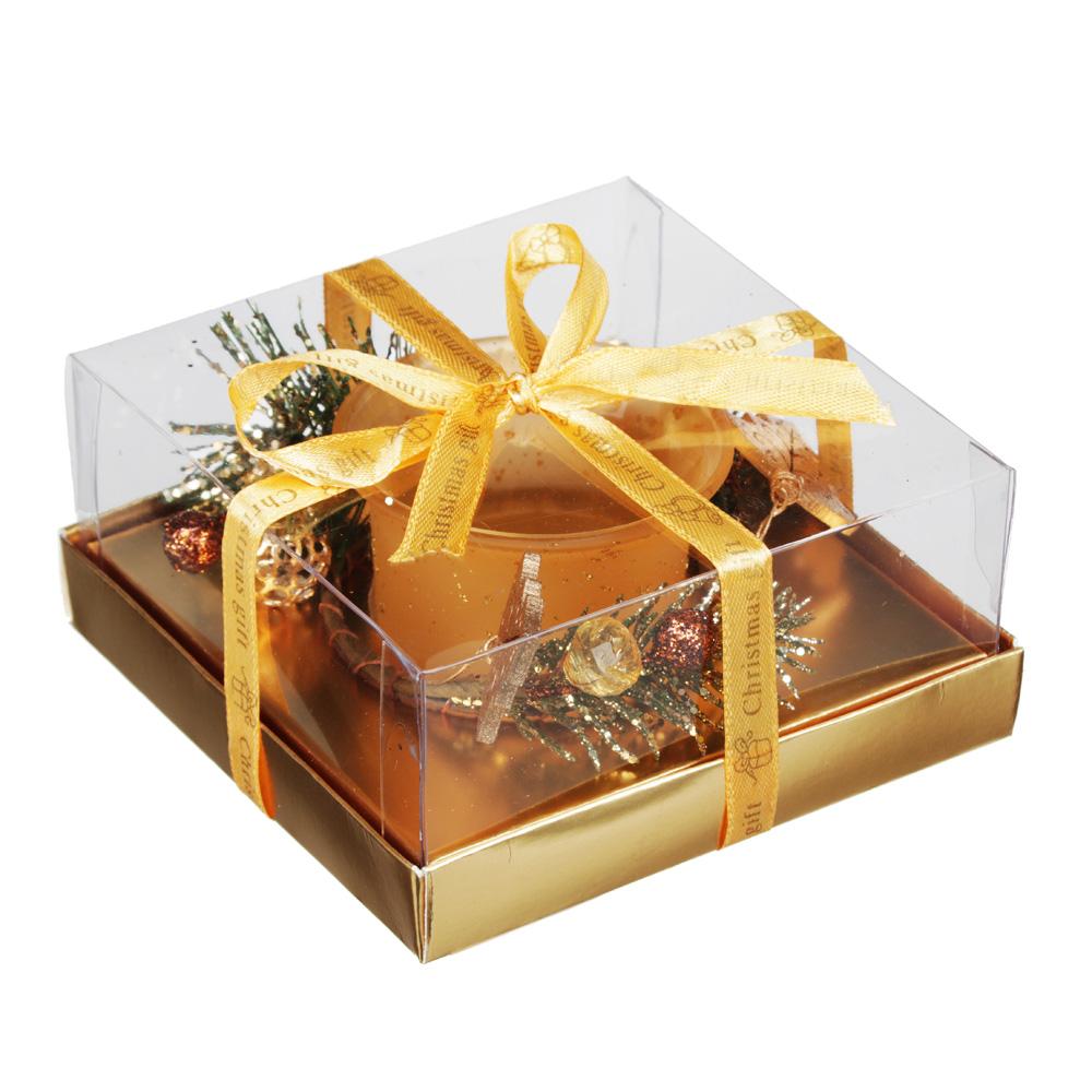 Подсвечник с декором, в подарочной упаковке, матовое стекло с глиттером, 11,3x11,3x5,5см, 1 цвет