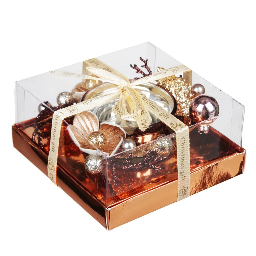 Подсвечник с цветами и бусами в подарочной упаковке, стекло с гальваникой, 11,3x11,3x5,5см