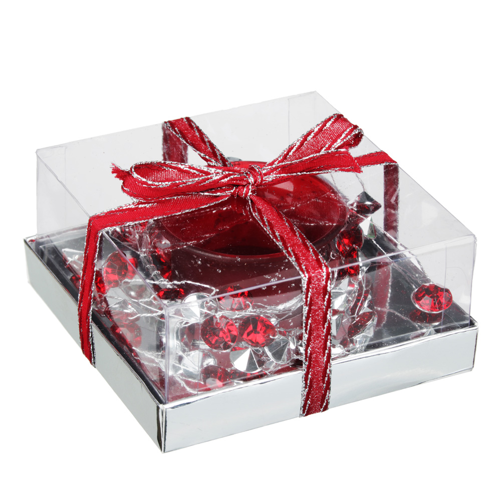 Подсвечник с лепестками в подарочной упаковке, матовое стекло с глиттером, 11,3x11,3x5,5см, 1 цвет