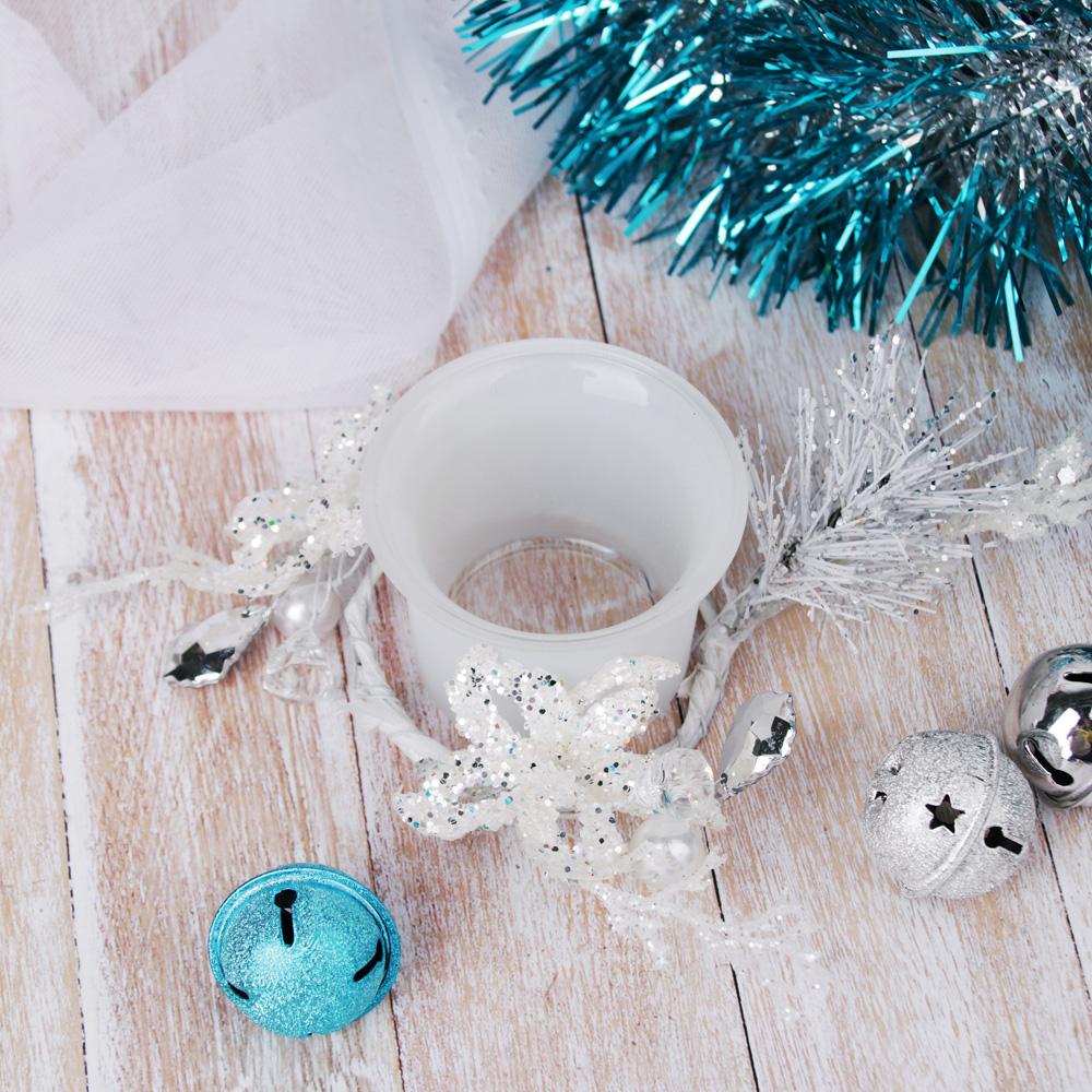 Подсвечник с блестящим декором, в подарочной упаковке, матовое стекло, 11,3x11,3x5,5см, 1 цвет