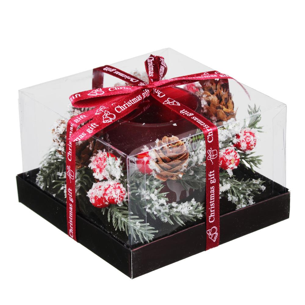 Подсвечник с надписью в подарочной упаковке, матовое стекло, 11,3x11,3x7,5см, 1 цвет