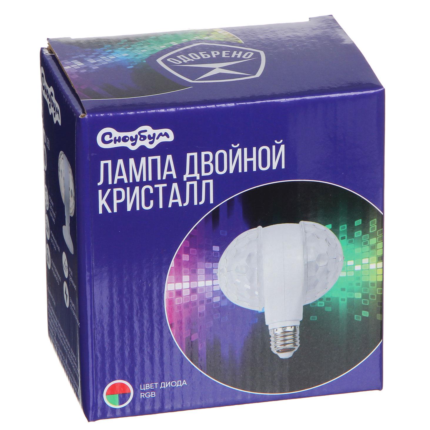 Лампа-кристалл двойной СНОУ БУМ 12х12 см, 6LED, RGB, в патрон Е27, пластик, 220В