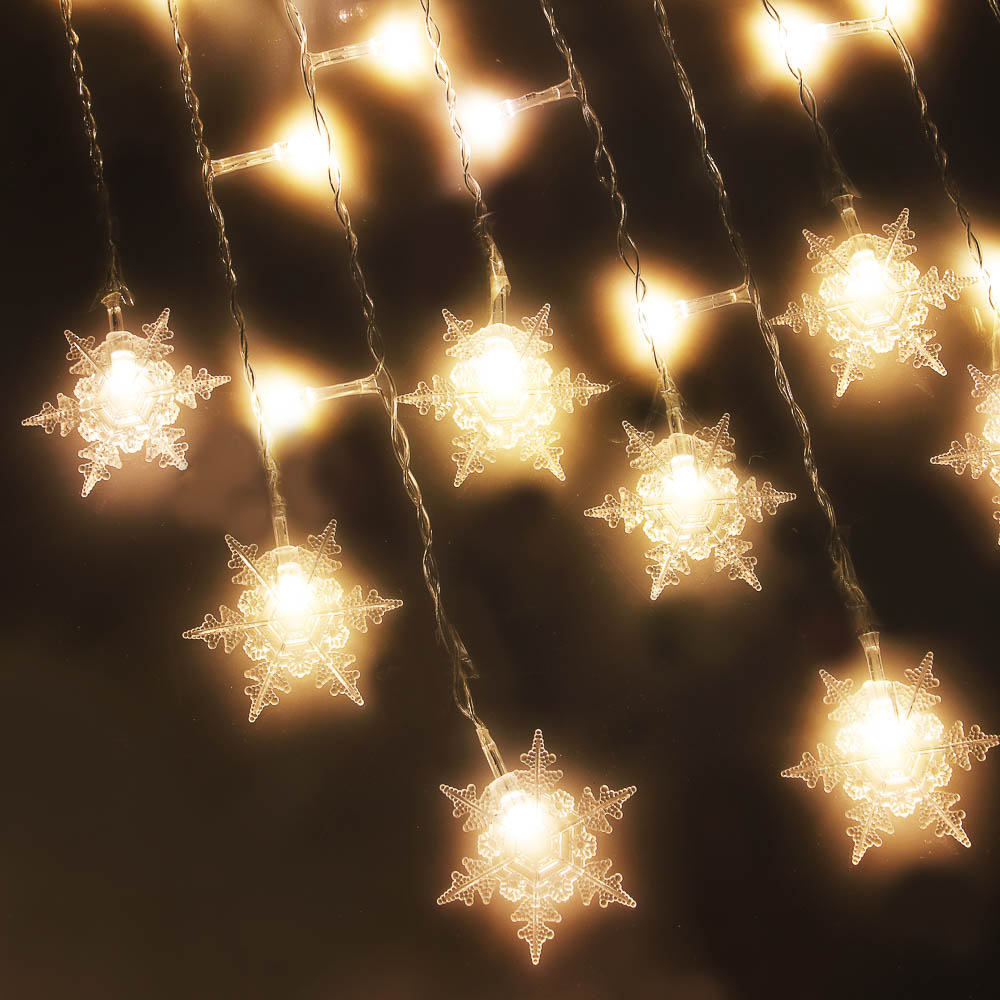 Гирлянда светодиодная Бахрома СНОУ БУМ шампань, 2,5х0,3х0,5х0,7м, в форме снежинок, 220В