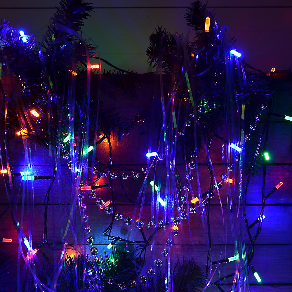 Гирлянда светодиодная Вьюн СНОУ БУМ 9м, 100 LED-призма, двойной мульти, 8 режимов, ПВХ, 220В