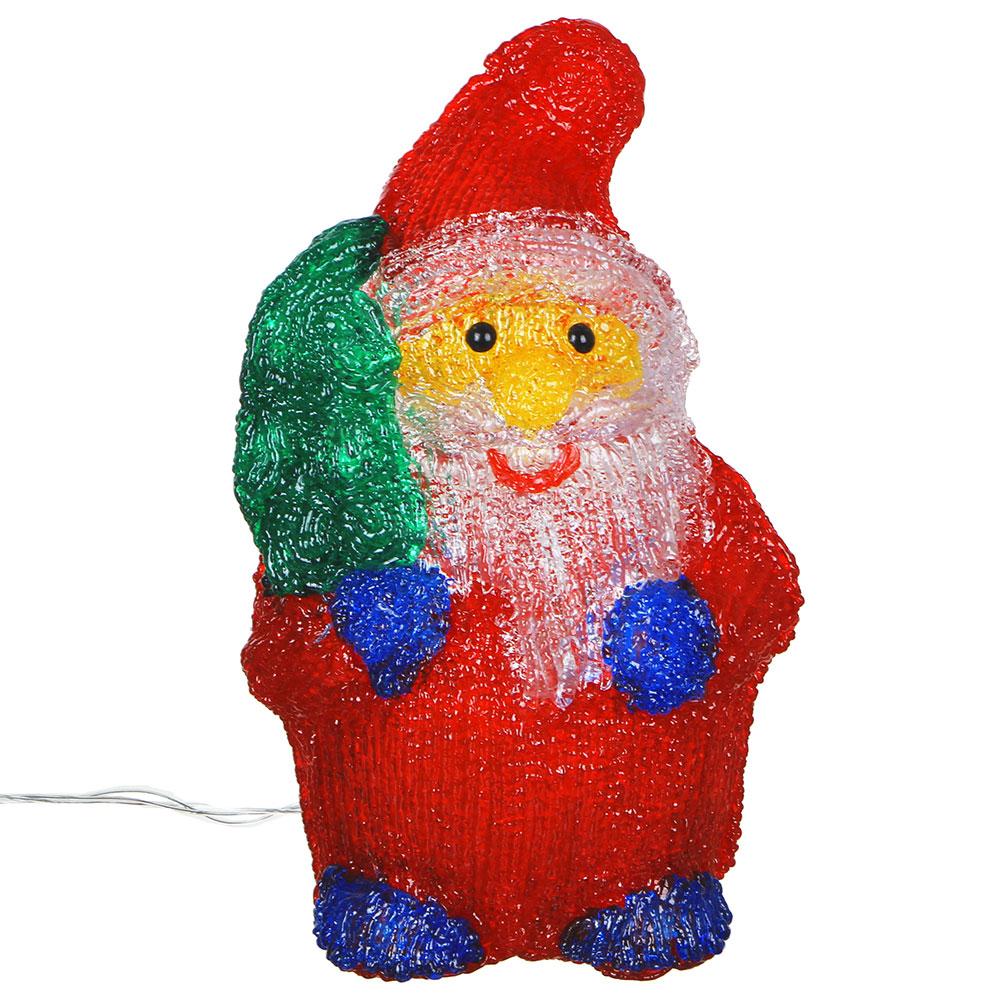 Светодиодная фигура Дед Мороз с мешком СНОУ БУМ 30 LED, 8 режимов, акрил, 220В, 17х27 см