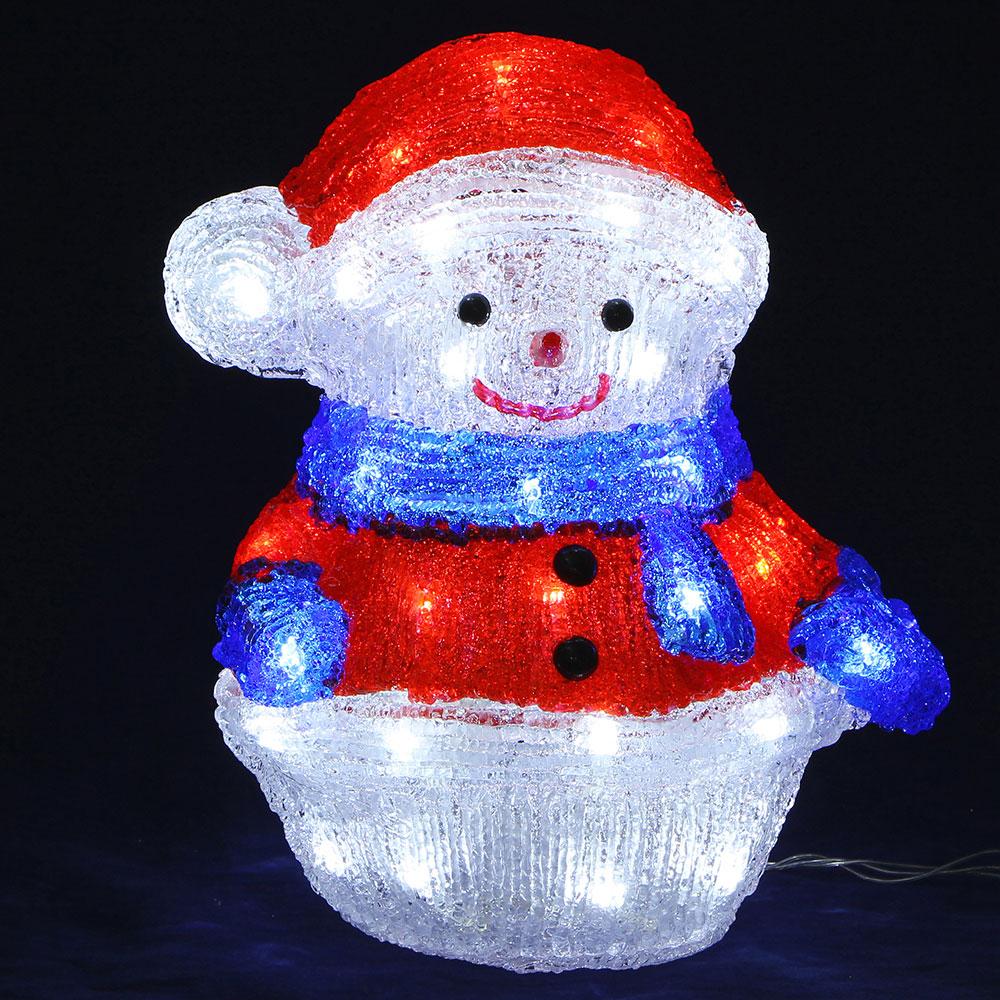 Фигура новогодняя Снеговик СНОУ БУМ 40 LED, 8 режимов, акрил, 220В, 30х24см