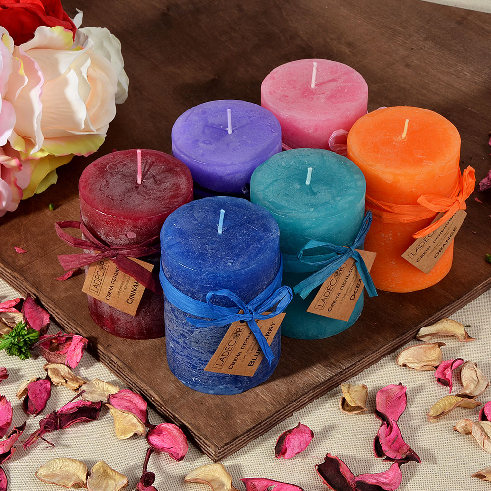 Свеча пеньковая с эффектом изморози LADECOR, с ароматом, парафин, d6,8х9,5см, 6 ароматов