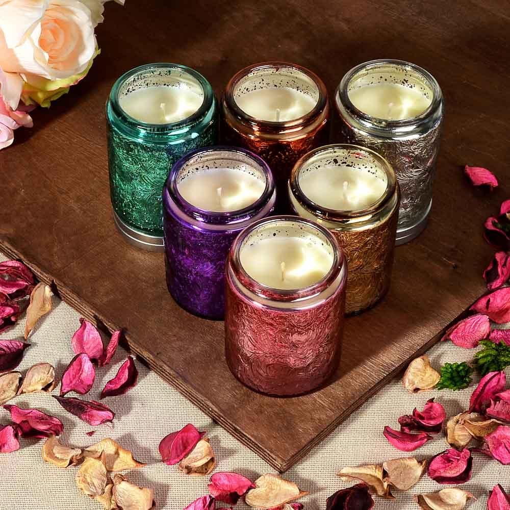 LADECOR Свеча ароматическая, в стекле, 7х8,7 см, 6 ароматов, блеск
