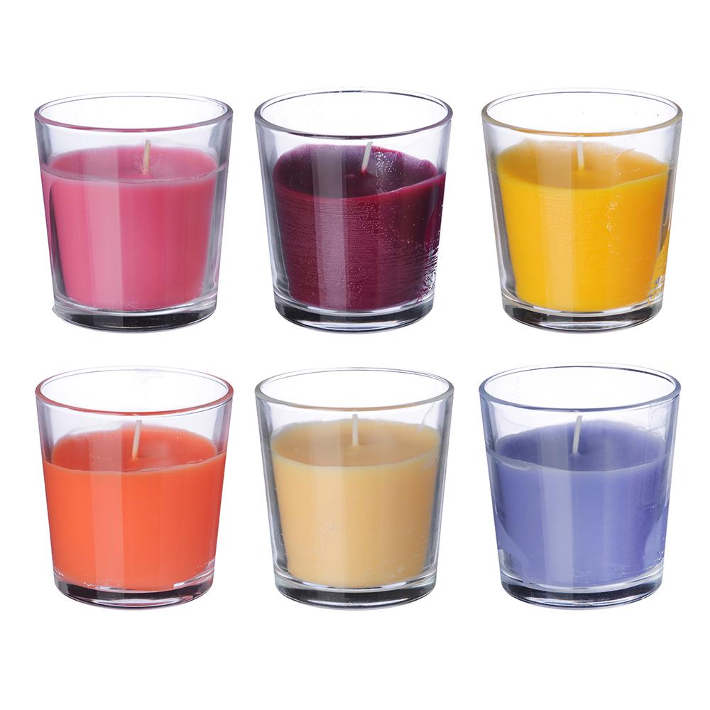 Свеча ароматическая в стеклянном стакане, 8х7,5 см, 6 ароматов