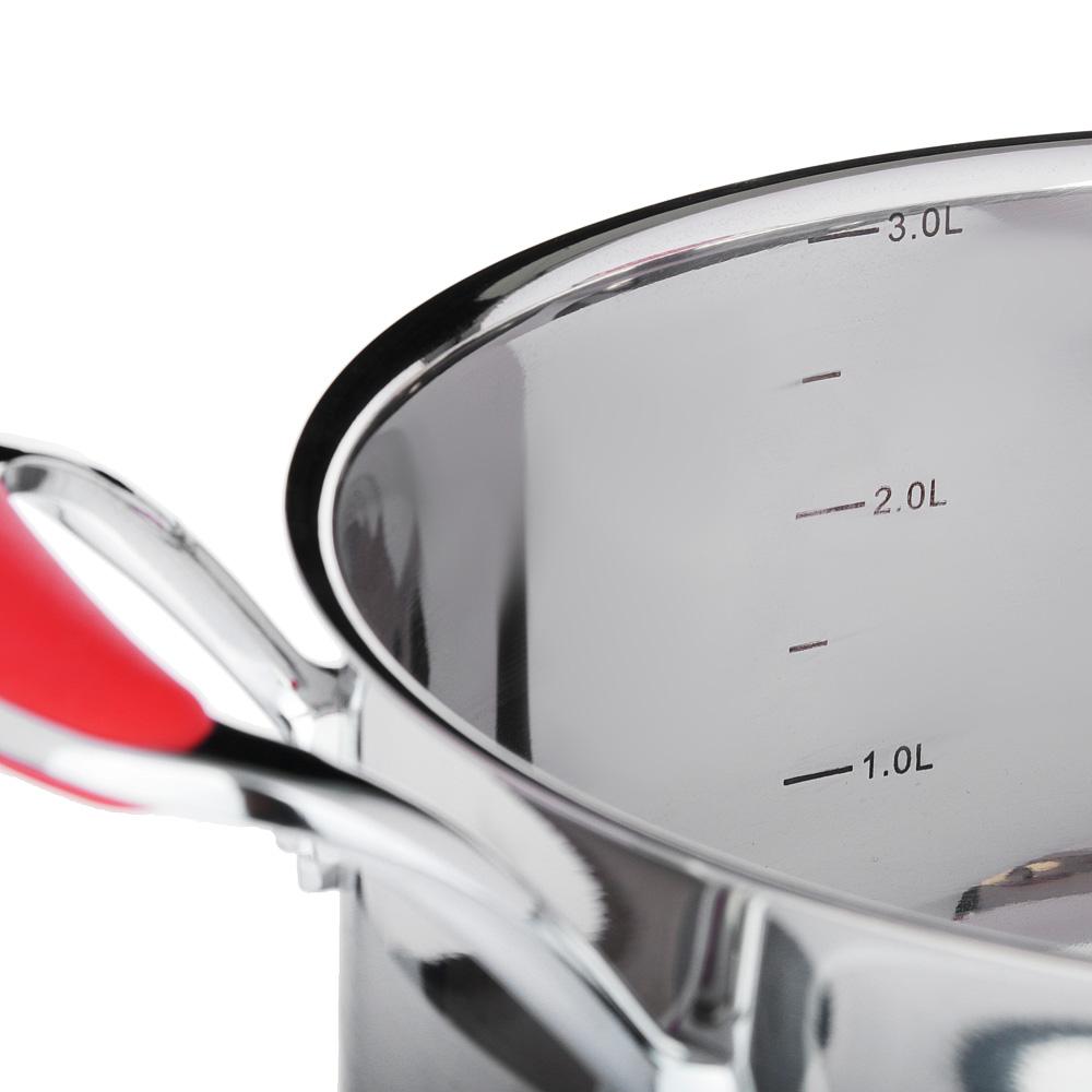 SATOSHI Венрай Кастрюля 20х11см 3,2л, со стекл. крышкой, индукция, нерж. сталь
