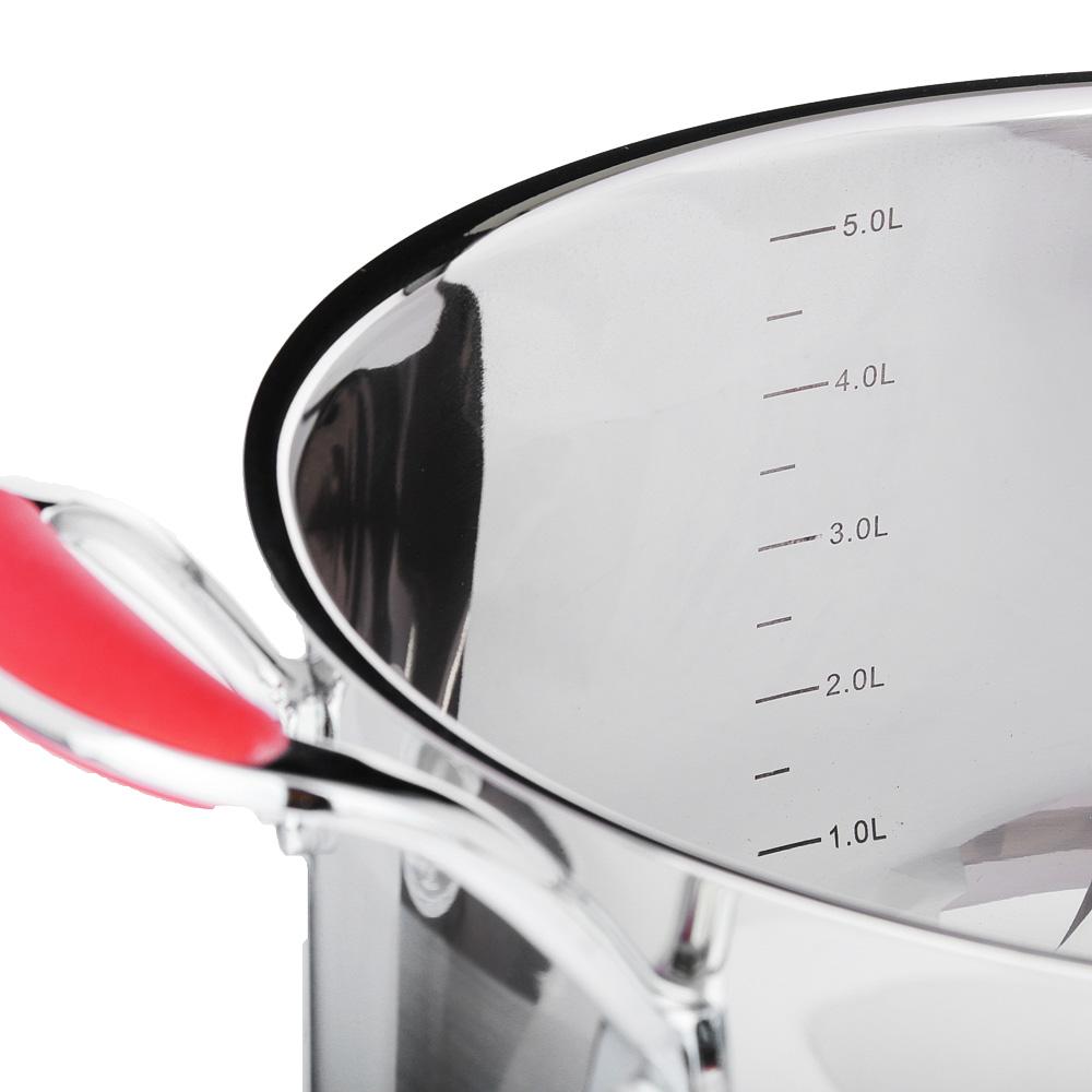 SATOSHI Венрай Кастрюля 24х13см 5,6л, со стекл. крышкой, индукция, нерж. сталь