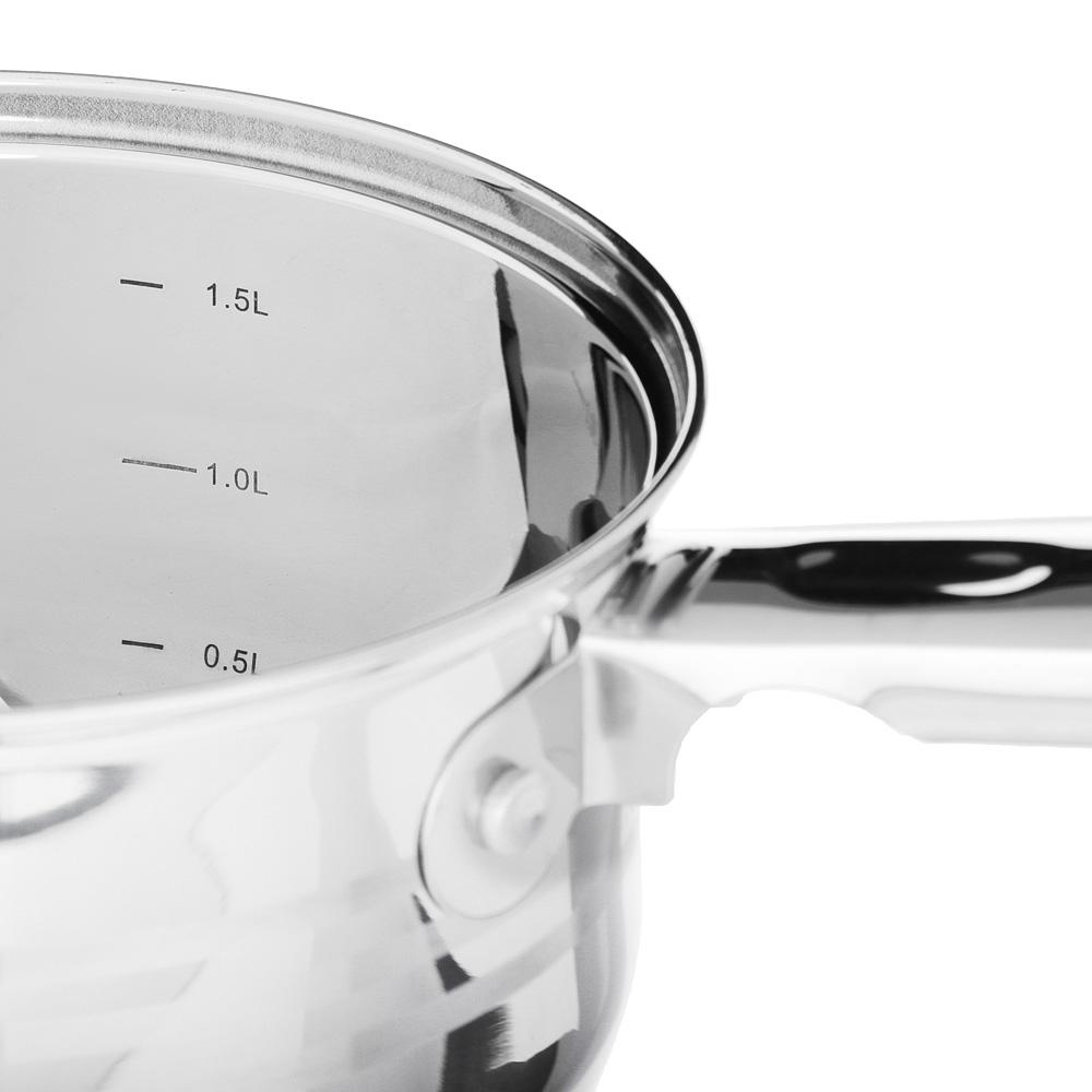 SATOSHI Рокруа Ковш 16х10,5см 1,9л, со стекл. крышкой, индукция, нерж. сталь