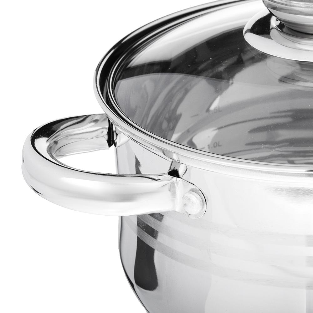 SATOSHI Рокруа Кастрюля 18х11,5см 2,8л, со стекл. крышкой, индукция, нерж. сталь