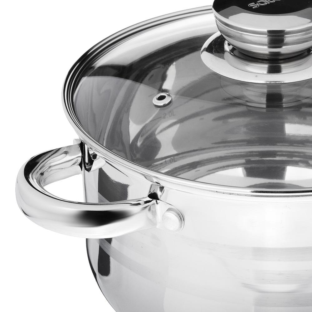 SATOSHI Рокруа Кастрюля 20х12,5см 3,7л, со стекл. крышкой, индукция, нерж. сталь