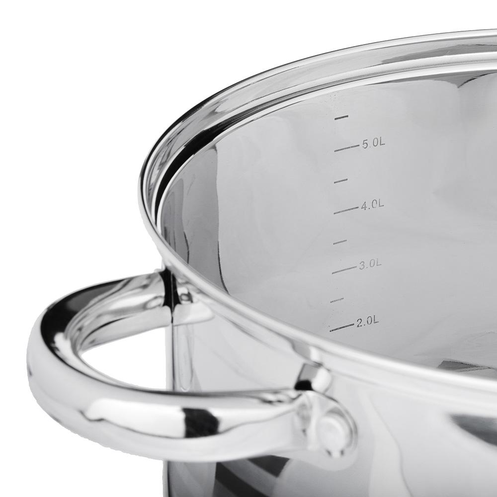 SATOSHI Рокруа Кастрюля 24х14,5см 6,2л, со стекл. крышкой, индукция, нерж. сталь