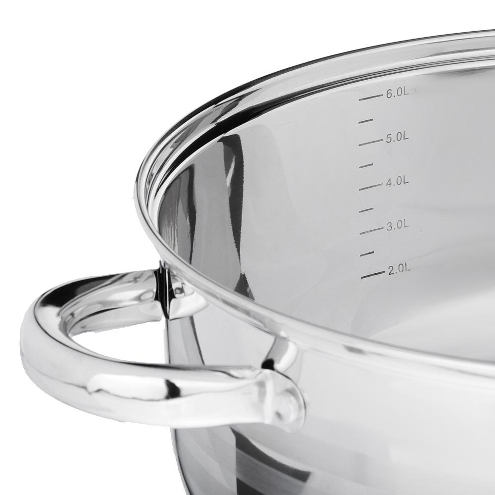 SATOSHI Рокруа Кастрюля-сотейник 28х12см 7,1л, со стекл. крышкой, индукция, нерж. сталь