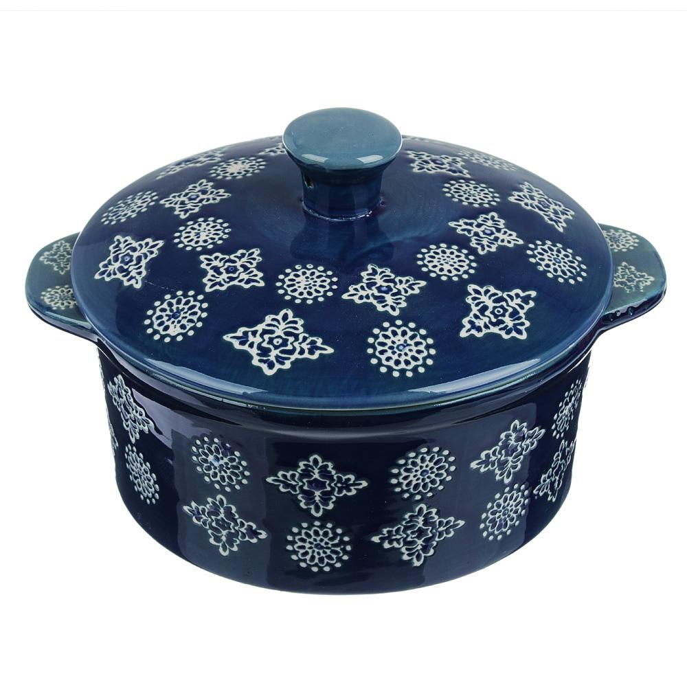 MILLIMI Горшочек с крышкой для запекания и сервировки, керамика, 16,5х13,5х10см, 480мл, синий