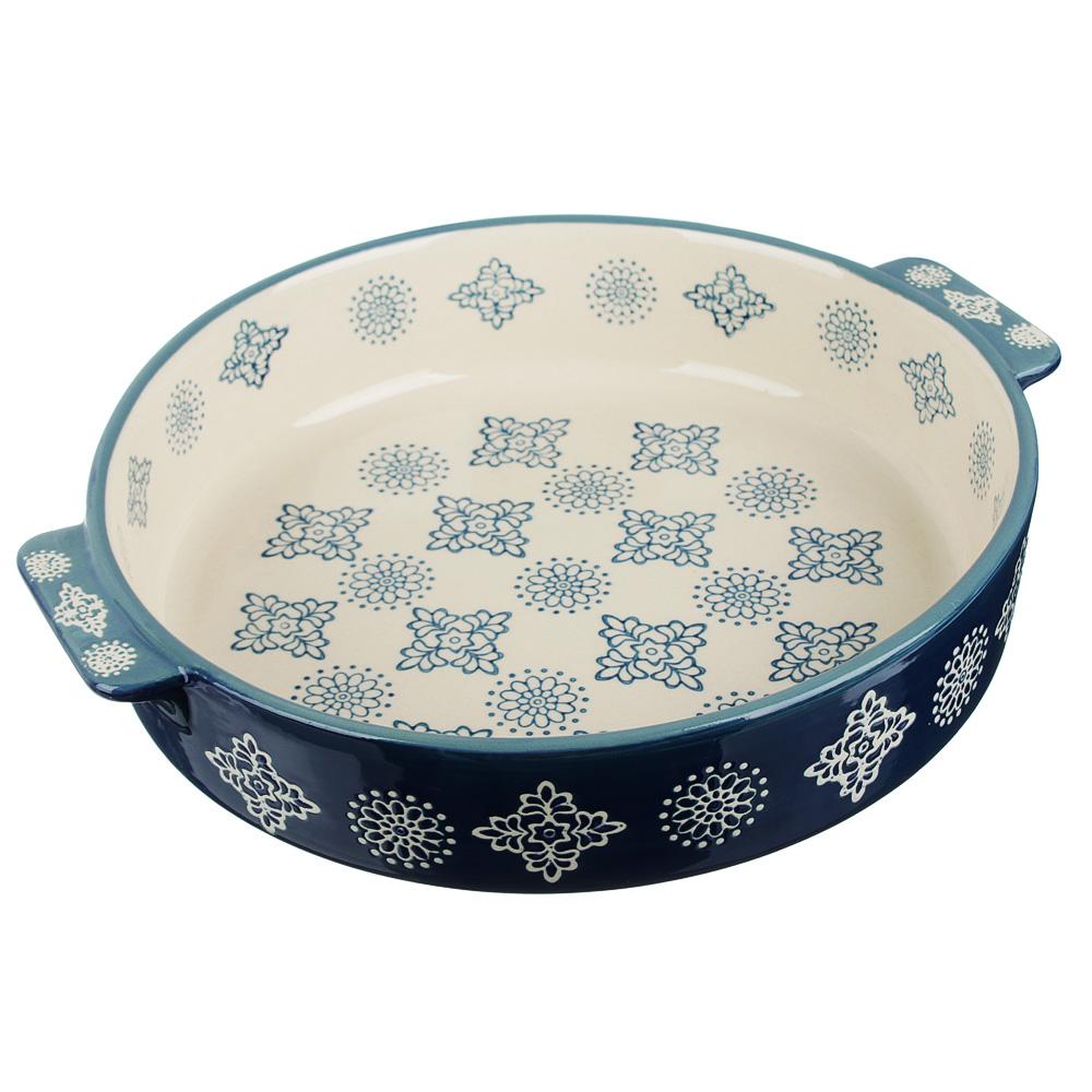 MILLIMI Форма для запекания и сервировки круглая с ручками, керамика, 25,5х22,5х5см, 1200мл, синий