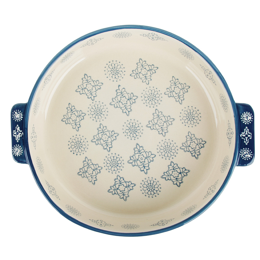 MILLIMI Форма для запекания и сервировки круглая с ручками, керамика, 25,5х22,5х5см, 1200мл, серый