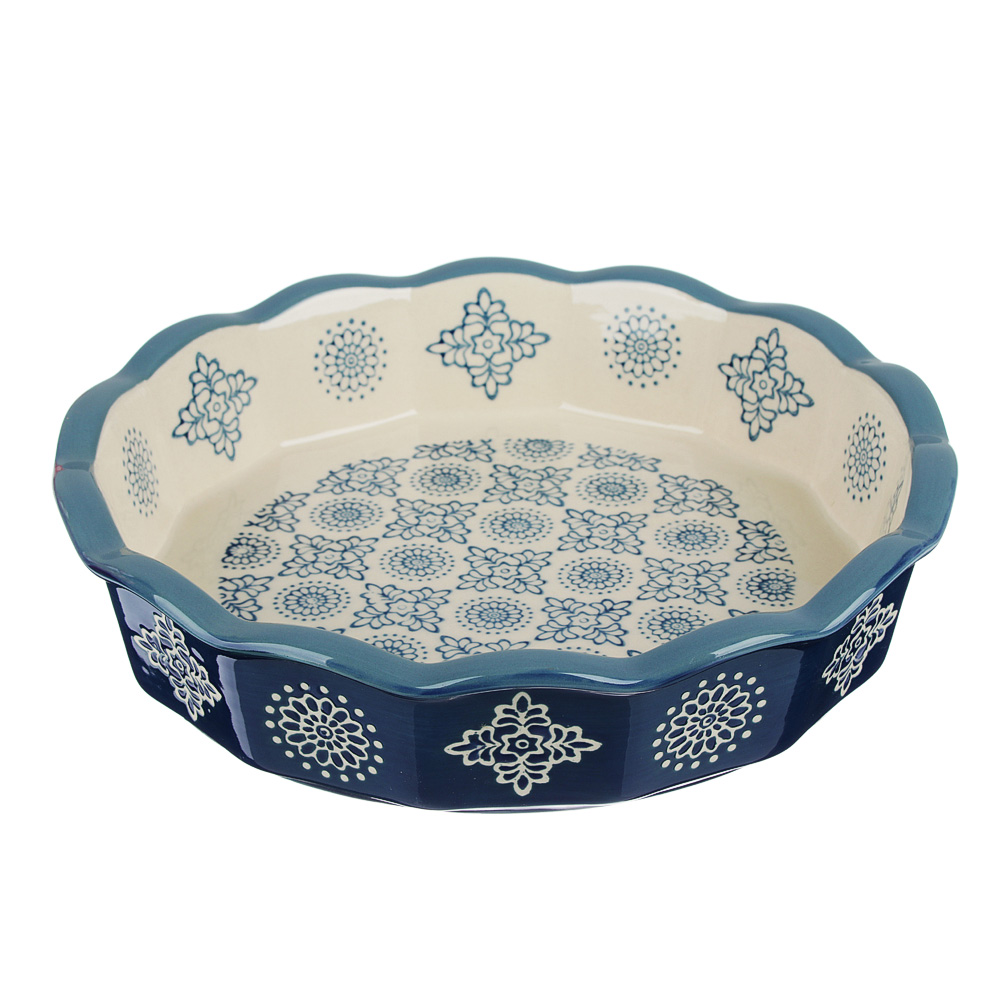 MILLIMI Форма для запекания и сервировки круглая, керамика, 22х4,5см, 850мл, синий