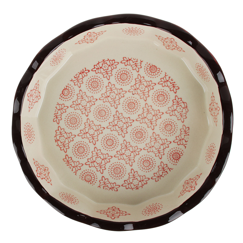 MILLIMI Форма для запекания и сервировки круглая, керамика, 22х4,5см, 850мл, красн.