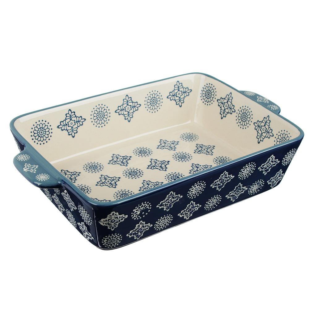 MILLIMI Форма для запекания и сервировки прямоуг. с ручками, керамика, 27,5х17,5х5,5см, 1400мл,синий