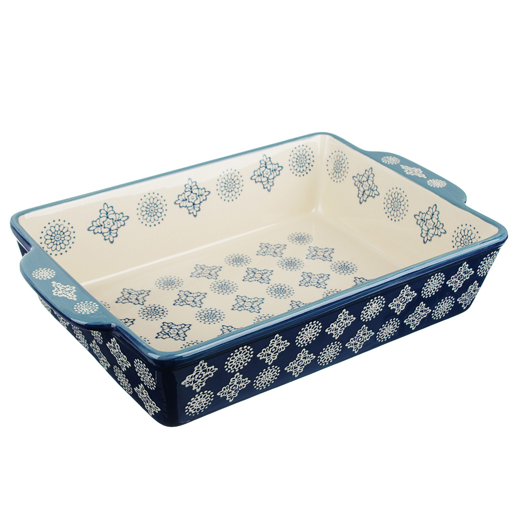 MILLIMI Форма для запекания и сервировки прямоуг. с ручками, керамика, 31х19х6,5см, 2200мл, синий
