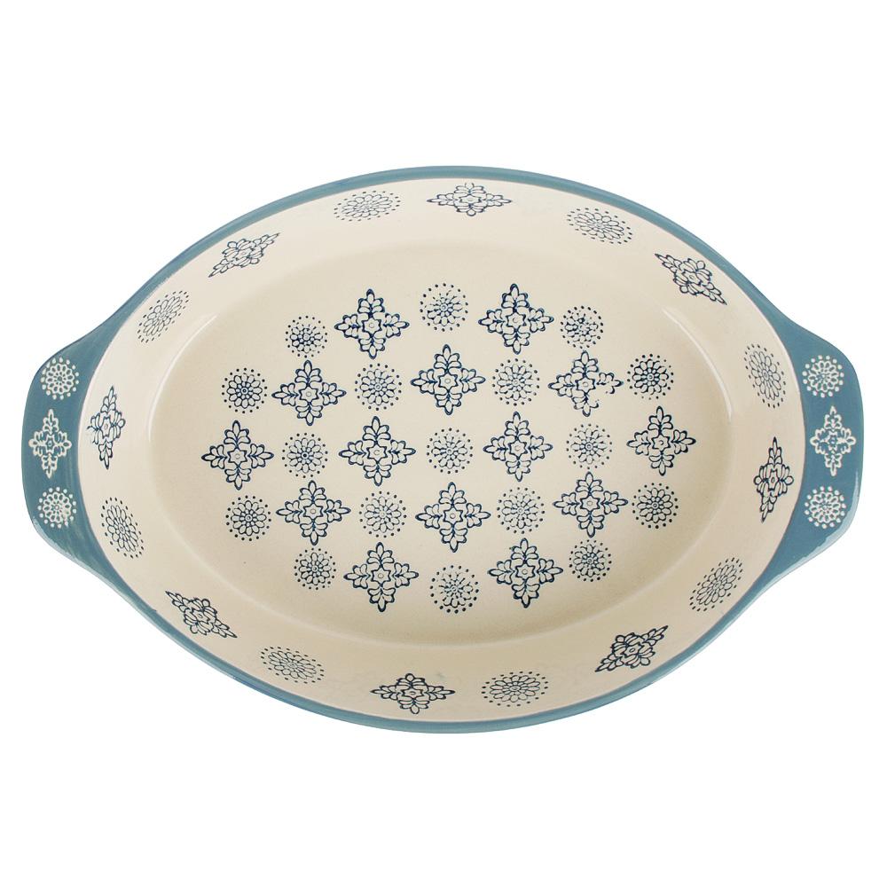 MILLIMI Форма для запекания и сервировки овальная с ручками, керамика, 31х20,5х6см, 1500мл, синий