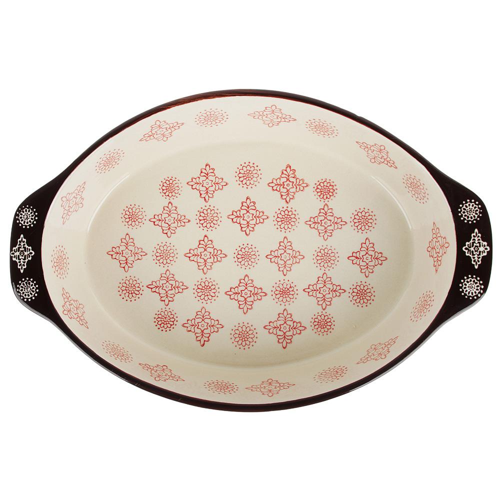 MILLIMI Форма для запекания и сервировки овальная с ручками, керамика, 31х20,5х6см, 1500мл, красн