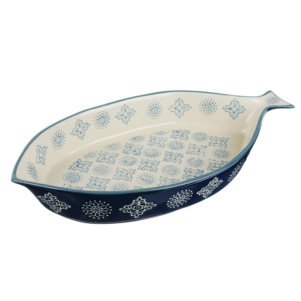 MILLIMI Форма для запекания и сервировки, рыба, керамика, 33х16х5см, 1000мл, синий
