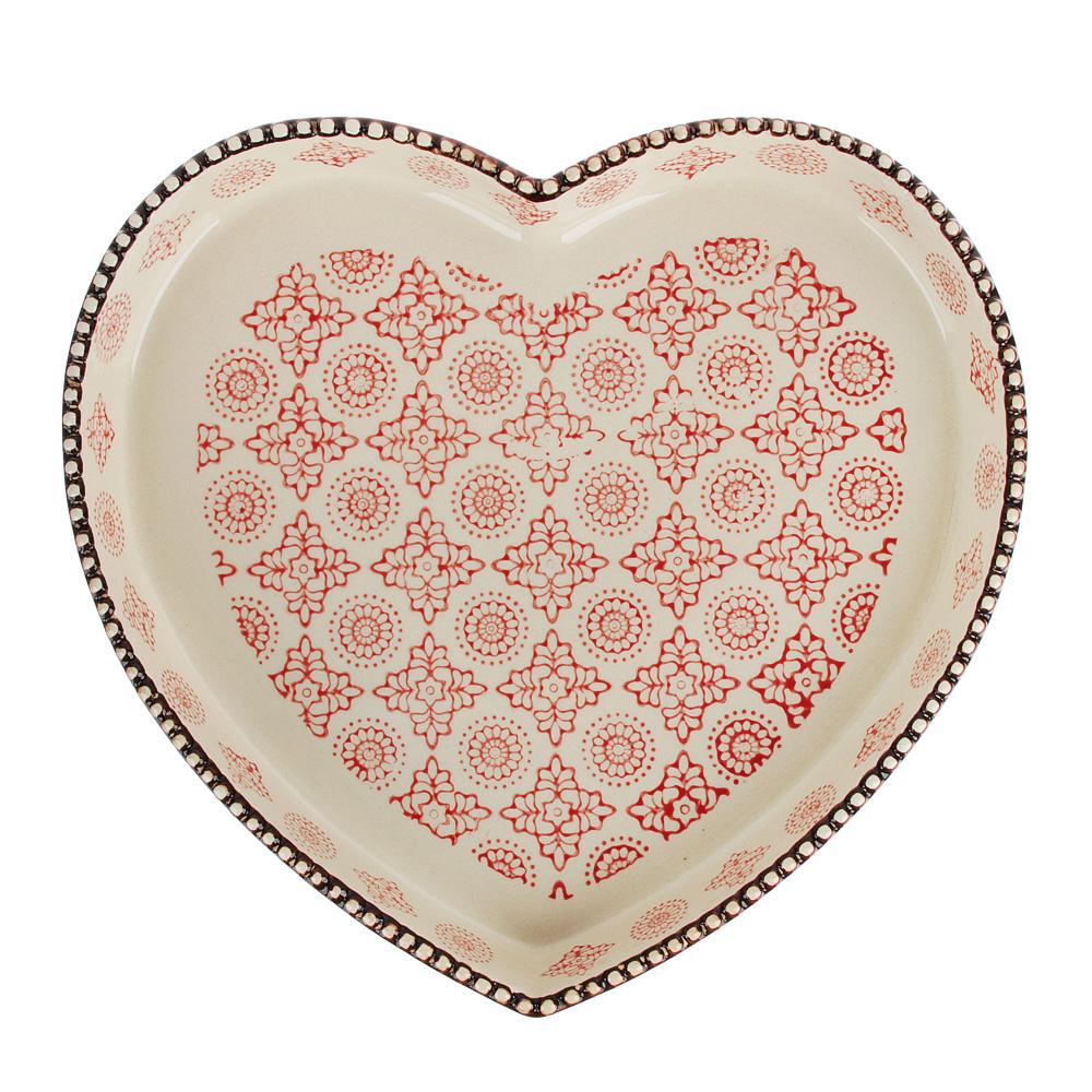 MILLIMI Форма для запекания и сервировки, сердце, керамика, 24х25,5х3,5см, 850мл, красн