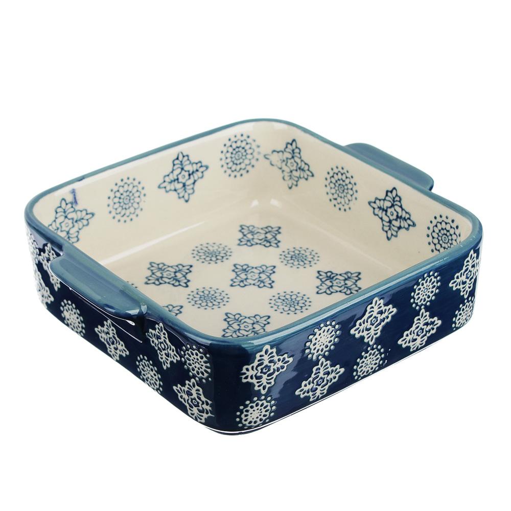 MILLIMI Форма для запекания и сервировки квадратная с ручками, керамика, 18х15х5см, 700мл, синий