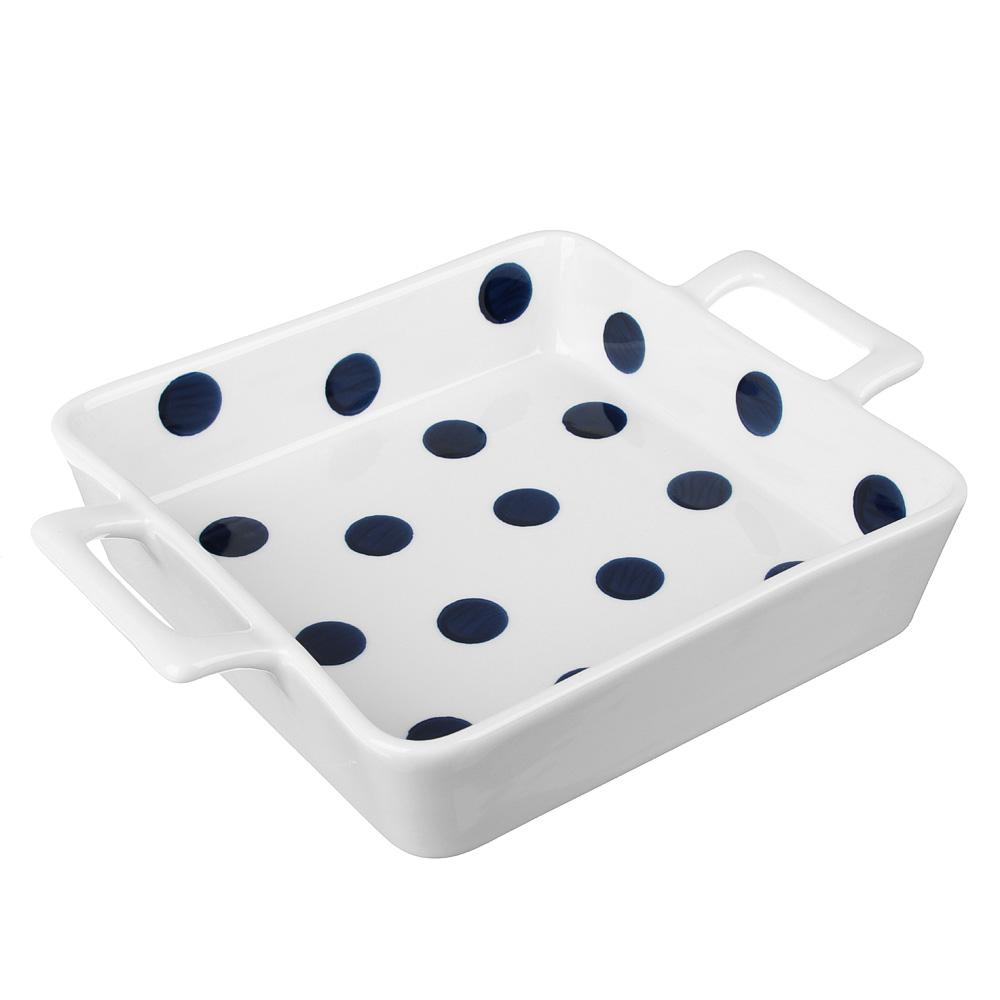 MILLIMI Синий горох Форма для запек. и сервировки квадр. с ручками, 800мл, 23,5х17,5х5см, керамика