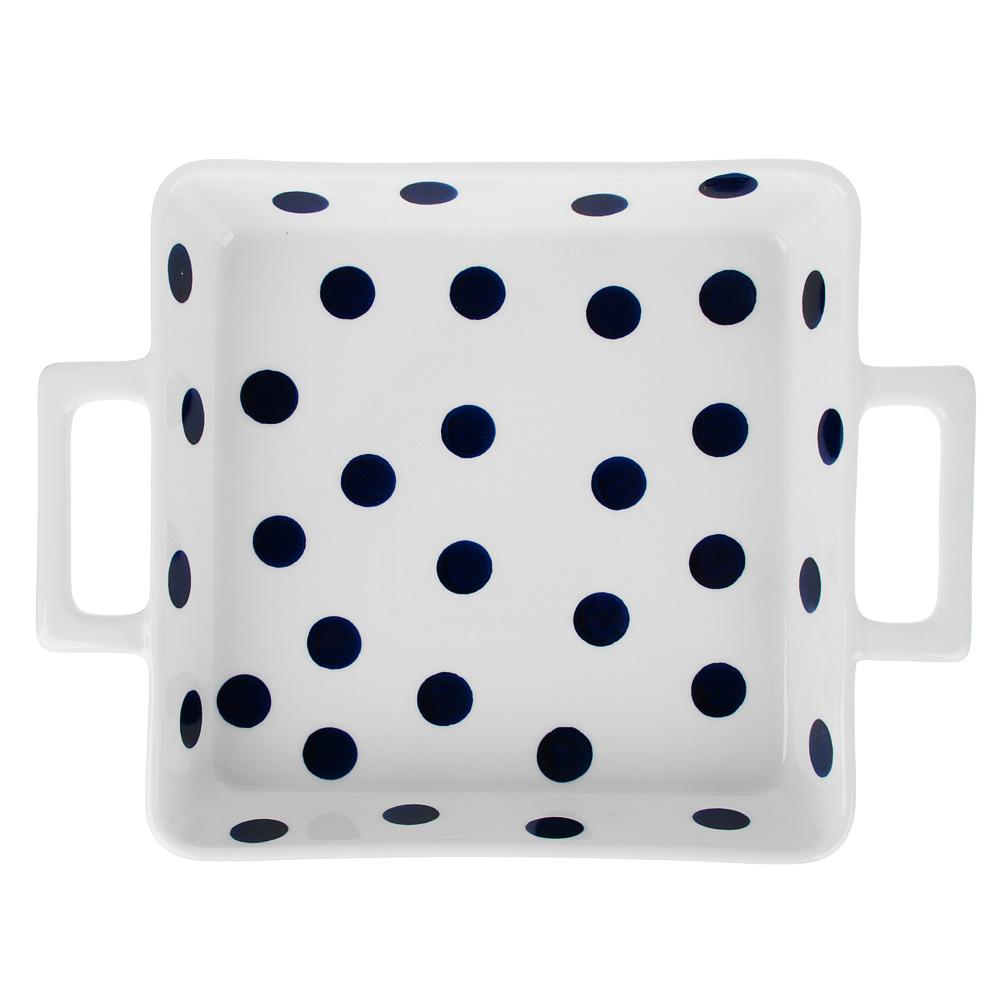 MILLIMI Синий горох Форма для запек. и сервировки квадр. с ручками, 1500мл, 30,5х22,5х5см керамика