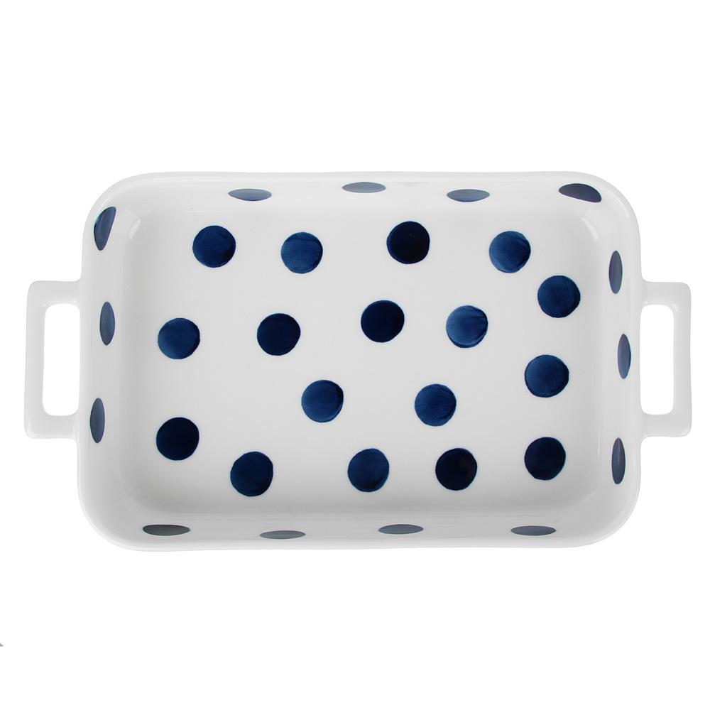 MILLIMI Синий горох Форма для запек. и сервировки прямоуг. с ручками, 1300мл, 31х17,5х5см, керамика