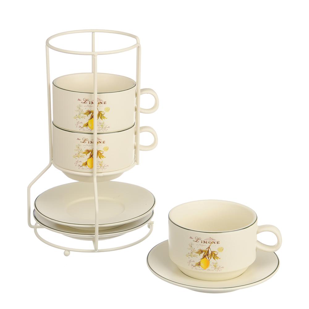 MILLIMI Вилладжио Набор чайный 6 пр. на метал. подст, 16х16х24,5см, чаш. 260мл, блюд. 16см, керамика