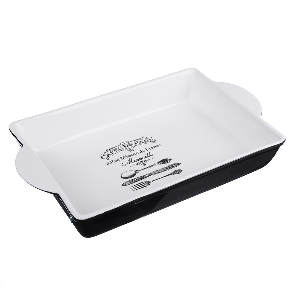 MILLIMI Кафе де Пари Форма д/запекания и салатов прямоуг. с ручк., 1500мл, 32х19,5х5см, керамика