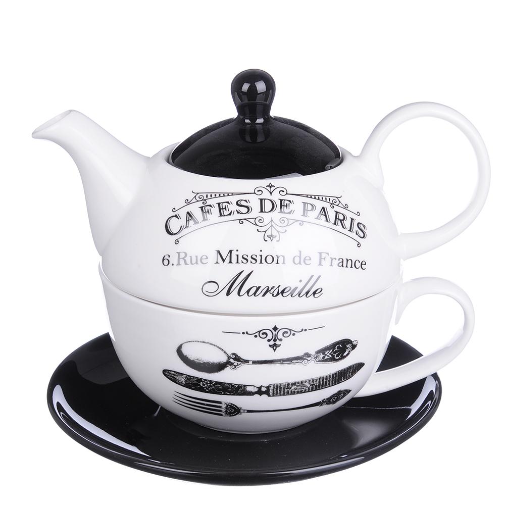 """MILLIMI Кафе де Пари Набор чайный """"Эгоист"""", чайник 380мл, чашка 320мл, блюдце 15см, керамика"""