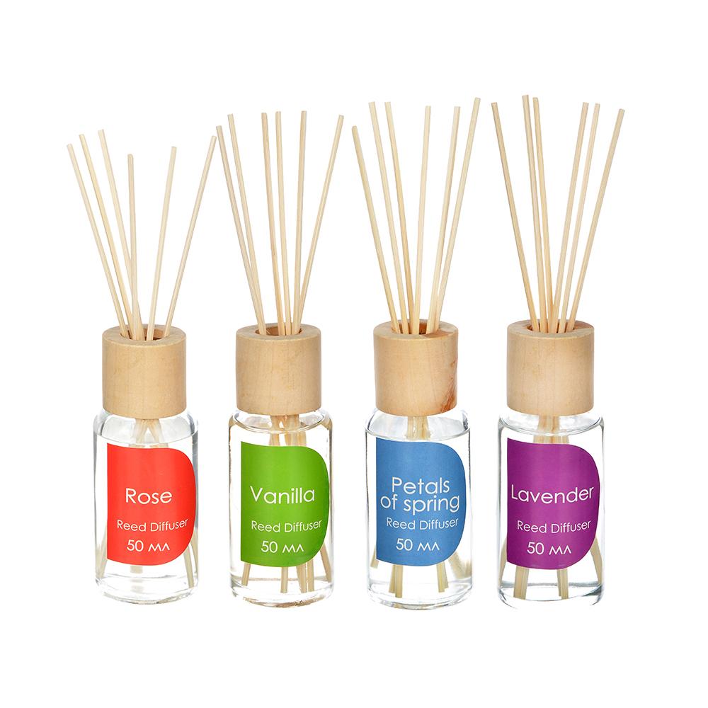 LADECOR Ароманабор 50мл с 6 палочками,4 аромата (весенние лепестки, роза, лаванда, ваниль)
