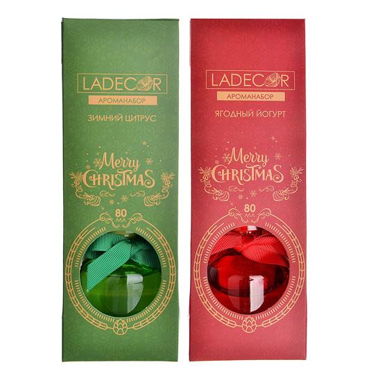 LADECOR Ароманабор 80мл с 6 палочками, 2 аромата(ягодный йогурт, зимний цитрус)