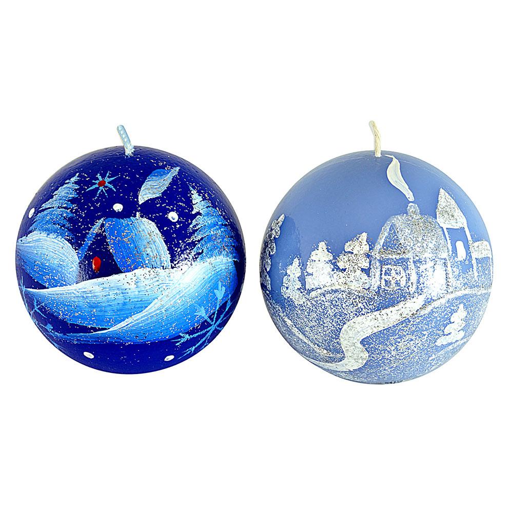 """Свеча парафиновая """"Зимовье"""", шарик синяя с ручной росписью, 7см, 2 дизайна"""