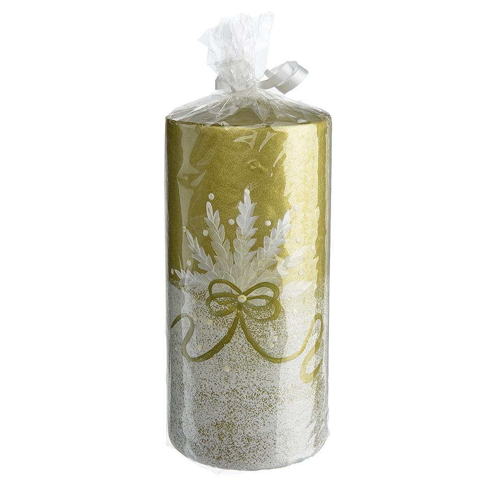 """Свеча парафиновая """"Ибис золотой"""", цилиндрическая золотая с ручной росписью, 15см"""