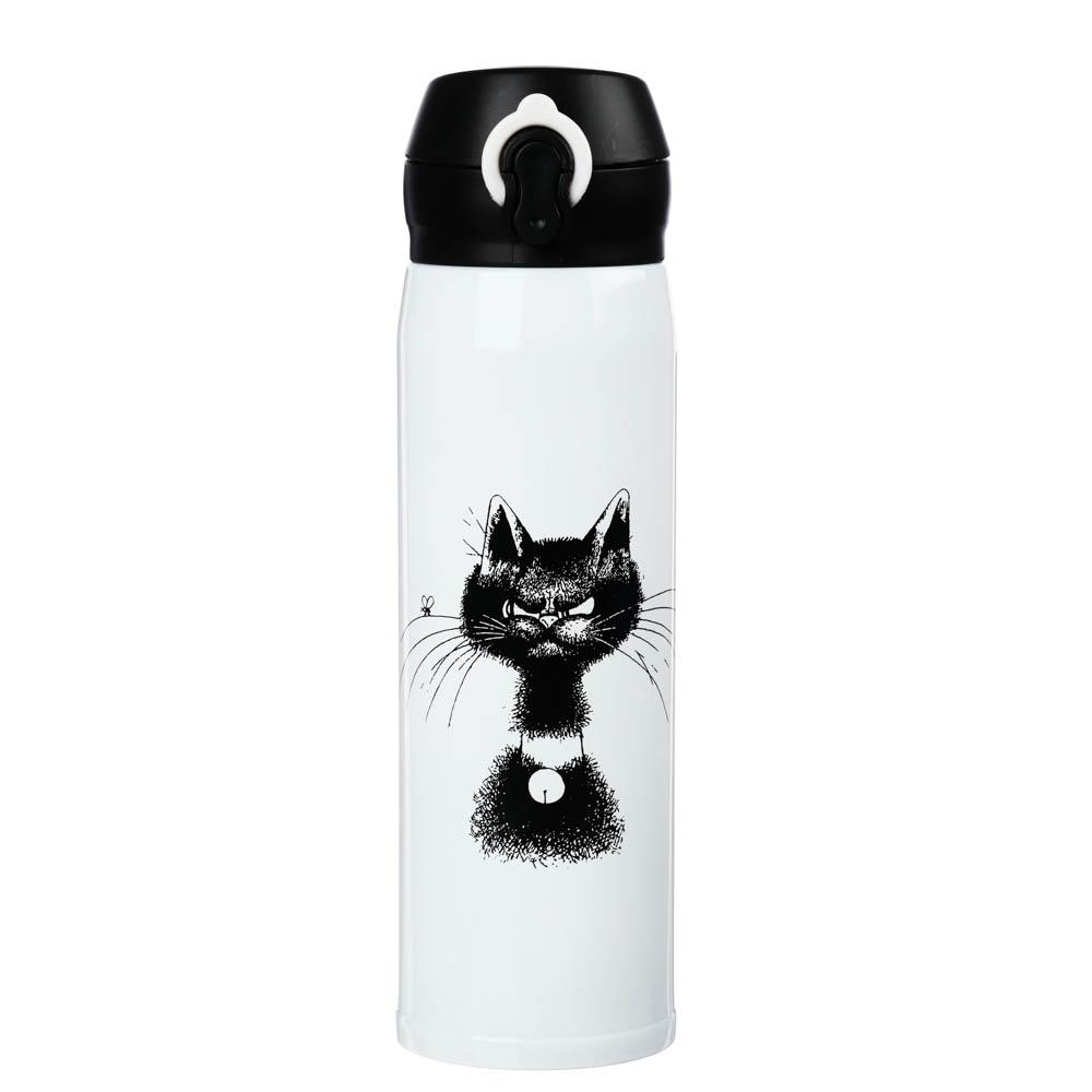 """SATOSHI Термос-кружка с крышкой на защелке, 450мл """"Коты"""", нерж.сталь"""