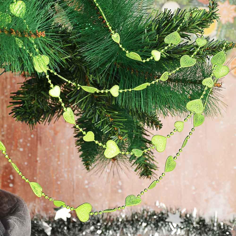 Бусы декоративные СНОУ БУМ 200 см,с сердечками, 6 цветов