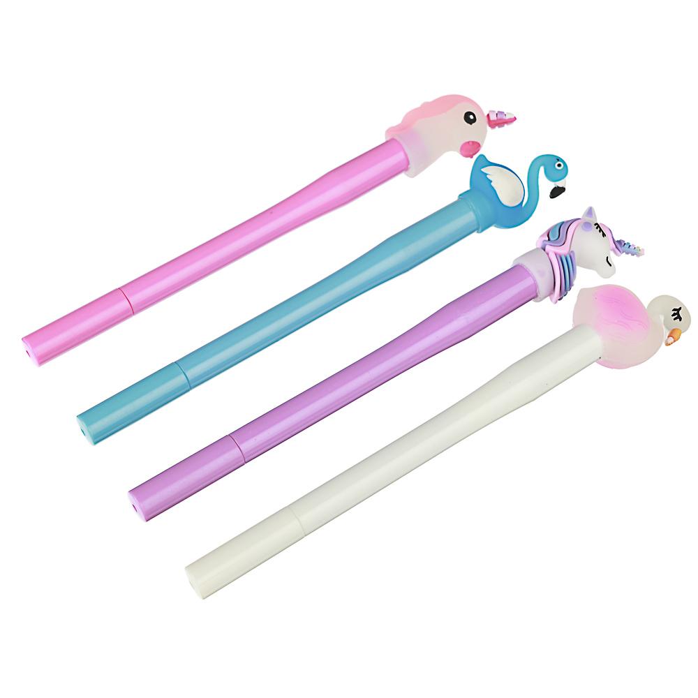 Ручка гелевая синяя, с объемной фигуркой и внутренней подсветкой, 16см, пластик, 4 дизайна